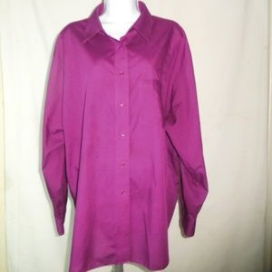 Foxcroft Purple Wrinkle Free Button Down Shirt 20W
